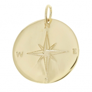 17c7a2179ff5 Dije medalla redonda rosa de los vientos 22 mm Chapado Oro 3 micras ...
