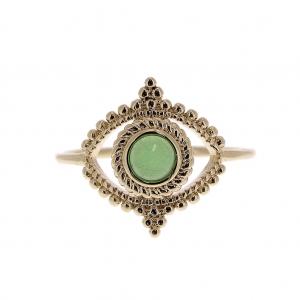 Anillo engaste cabuchón vidrio talla 52 Verde   Chapado de Oro 3 . e16dbd1526b