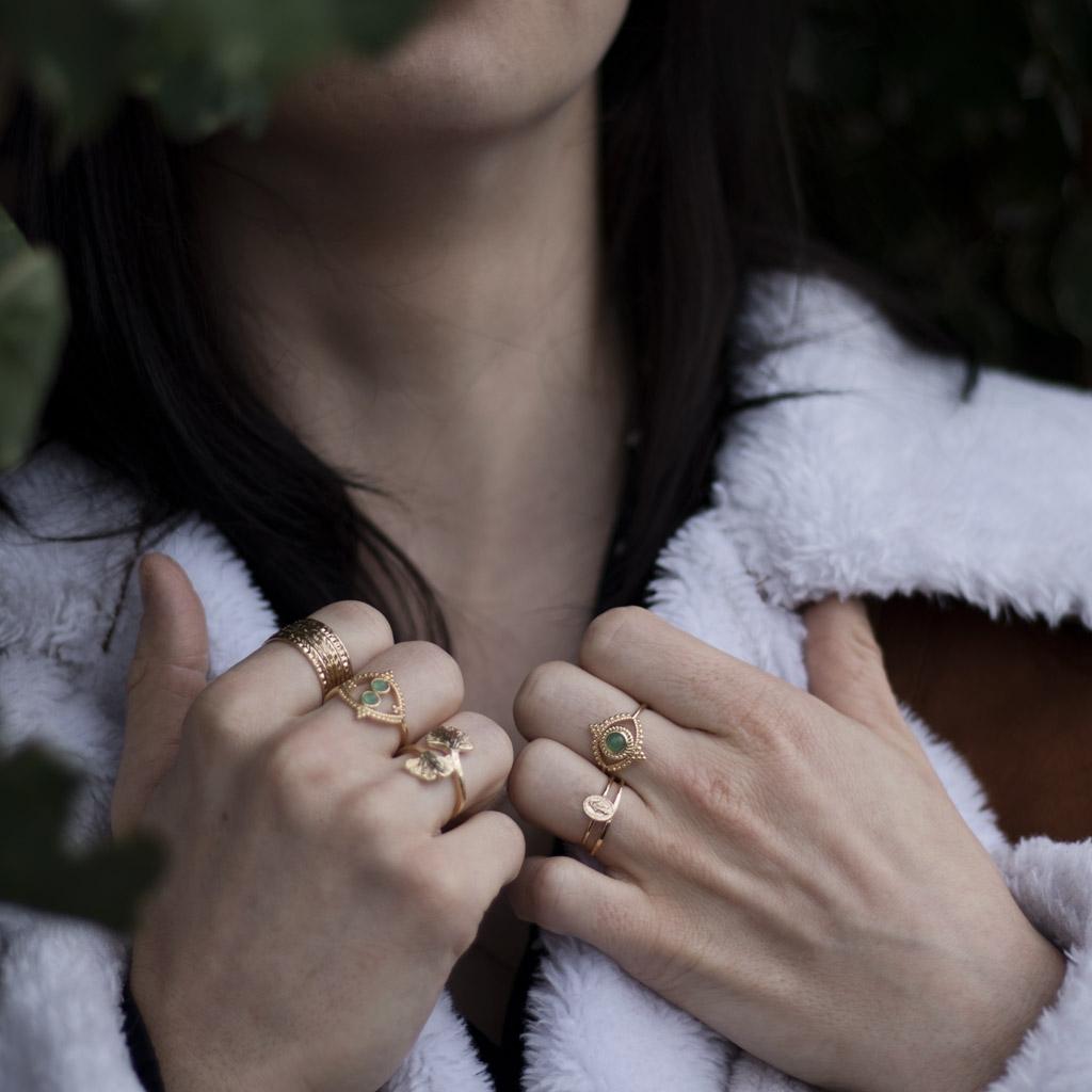 Anillo semanario talla 50 Chapado de Oro 3 micras - Perles   Co 610253b9440