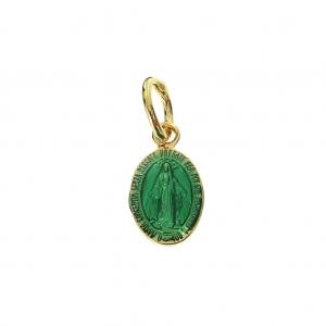 003004b8528c Dije medalla Vierge resina epoxi con anilla 9.5mm Verde Chapado de Oro 3  mic ...