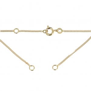b6914711f139 Collar gargantilla cadena gourmette esclava 1.2 mm Chapado de Oro 3 micras  x42 cm Anillo jonc 2 anillas de Plata 925 ...