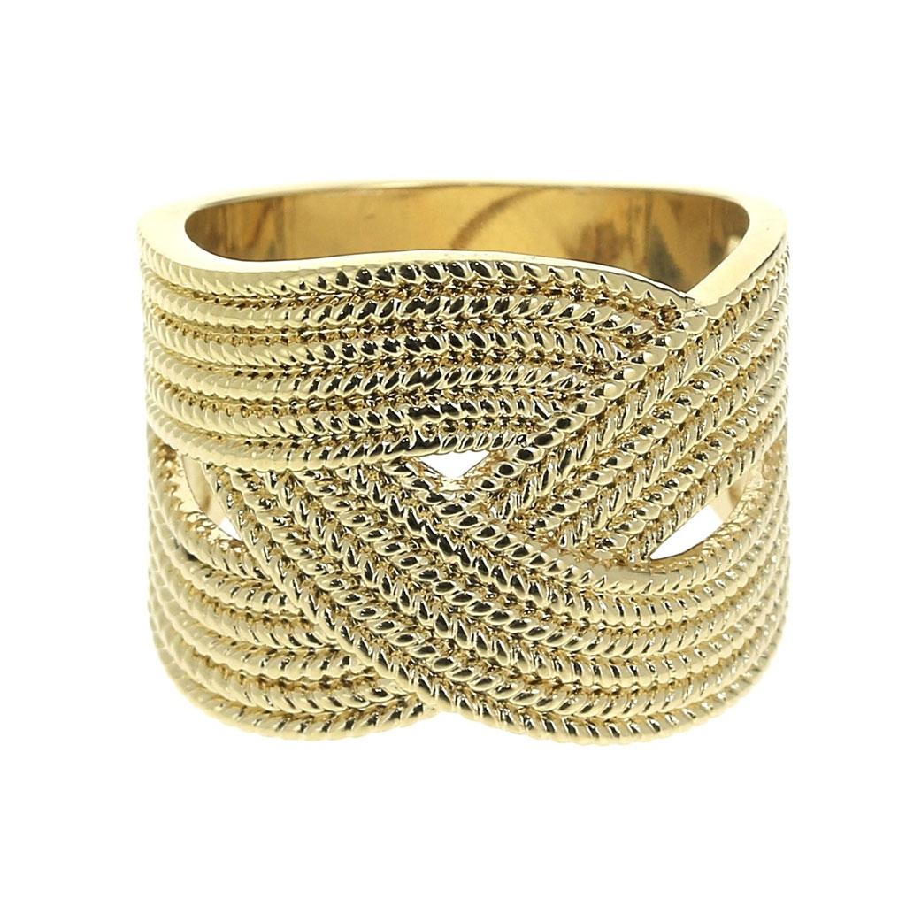 Anillo ancho trenzado talla 56 chapado de Oro 3 micras - Perles   Co 43c8f74b01e