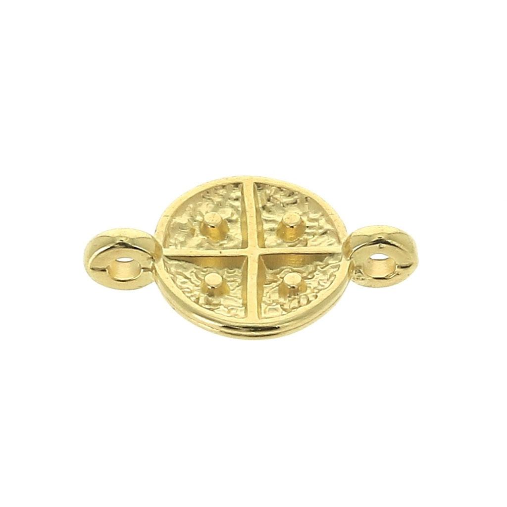 Entrepieza redonda 2 anillas Símbolos Religioso cruz 16x10 mm dorado ...