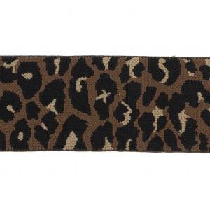 d3c00028afe6 Cinta elástica de fantasía motivo Leopardo para cinturón 50 mm Marrón x 50  cm