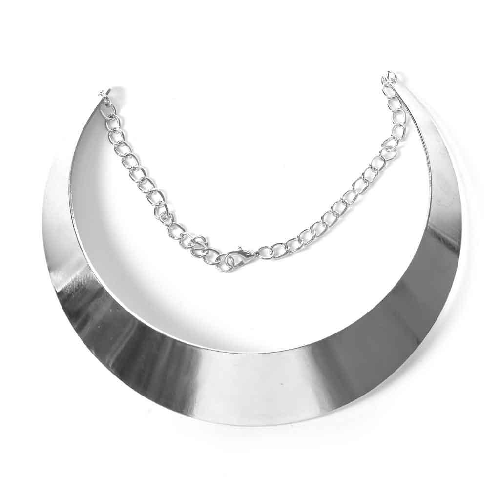 8cdae2363b46 Collar Torque rígido con cadena 12 cm - Collar Gargantilla Plateado ...