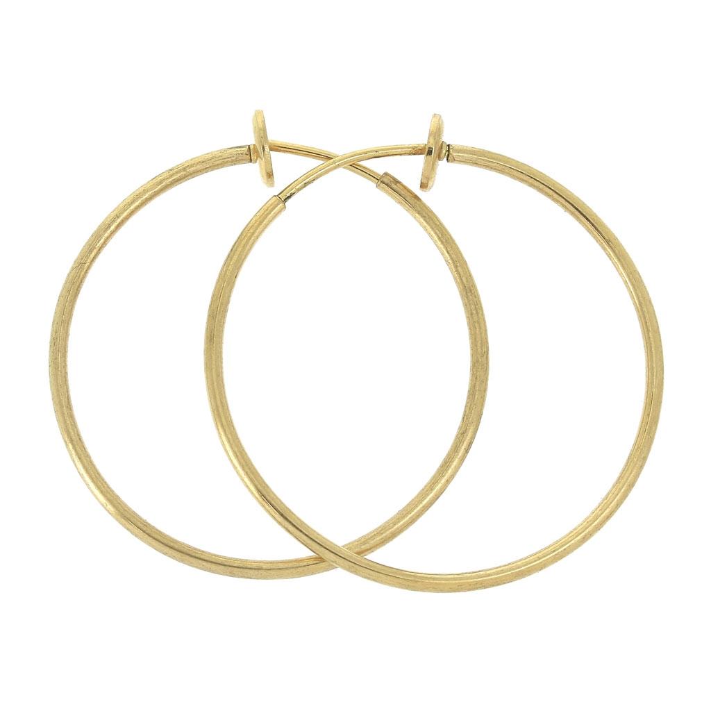 10e35f7c7f55 Mini aros pendientes clip - Para pendientes - 35x1.6 mm - Dorado x2 ...