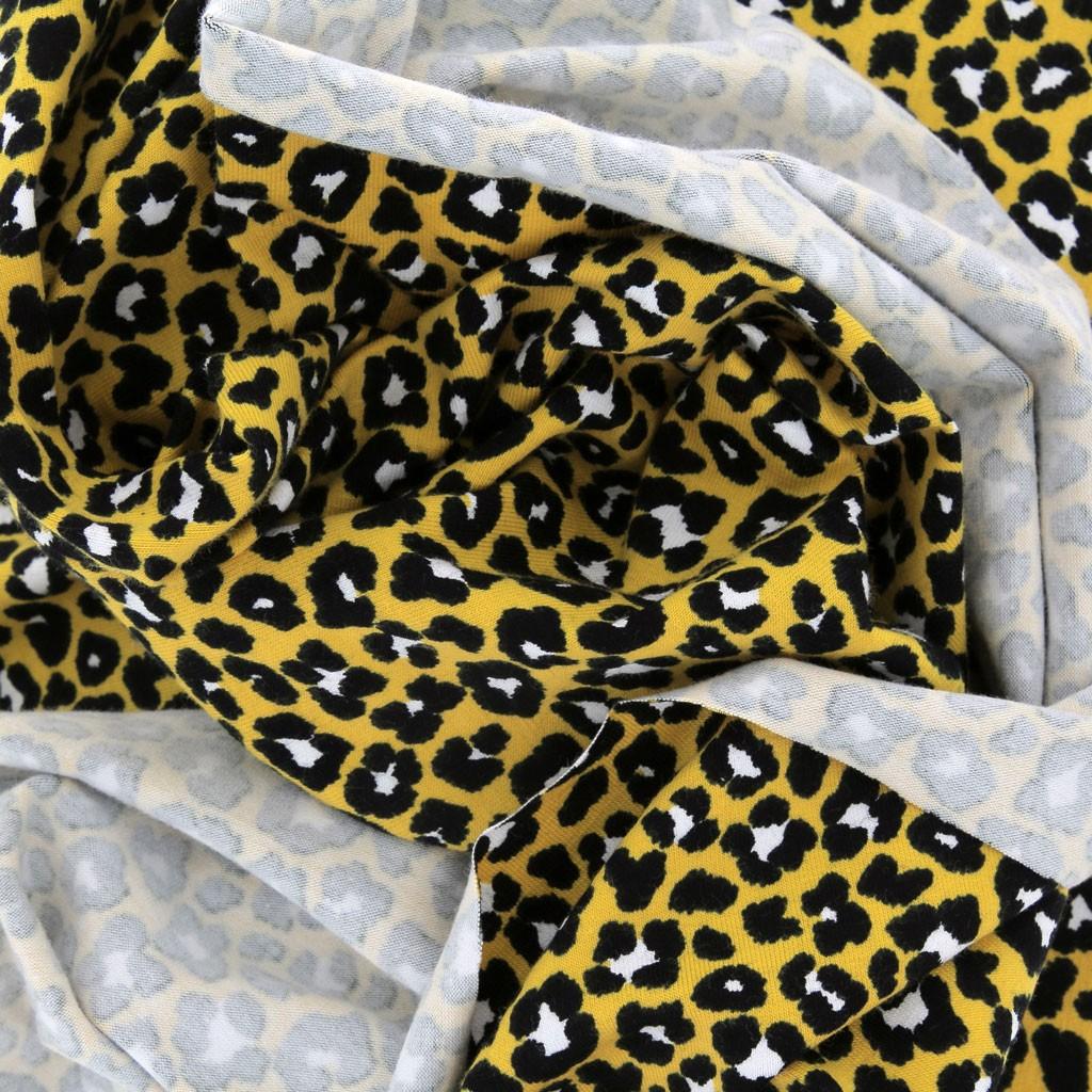 c21ac883275b Tela jersey Stenzo Estampado Leopardo Amarillo/Negro x10cm - Perles & Co