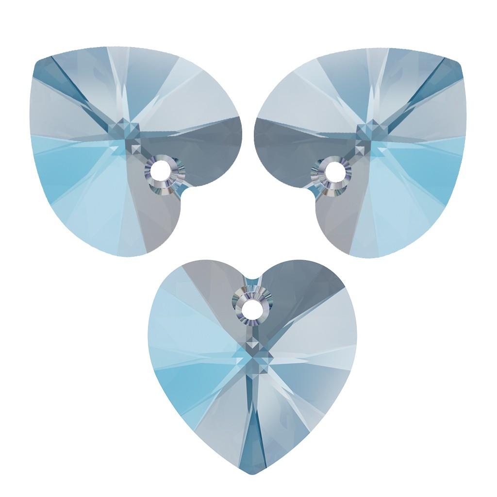 Grande Corazón Colgante Plata 925 CRISTAL azul AB 40 mm Cristales de Swarovski ®
