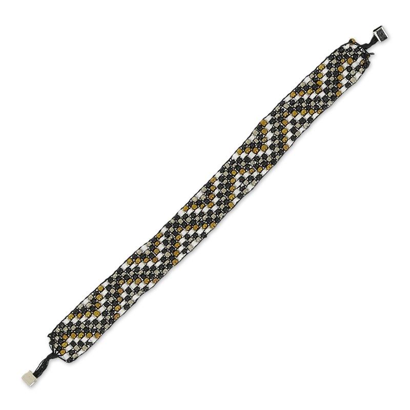 Cinta rocallas tejidas para pulsera Yujo 18 cm Negro x1 - Perles & Co