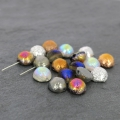 Dome Beads 12x7 mm Etched Silver Rainbow x5