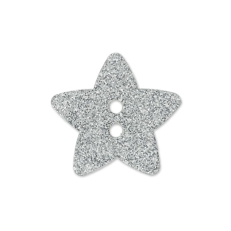 Botón estrella 11 mm Plateado con brillante x1 - Perles & Co