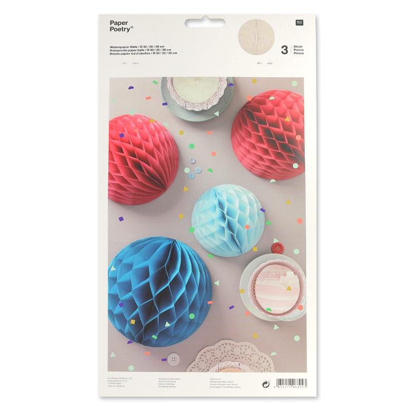 surtido de 3 bolas en papel decoraci n mesa paper poetry. Black Bedroom Furniture Sets. Home Design Ideas