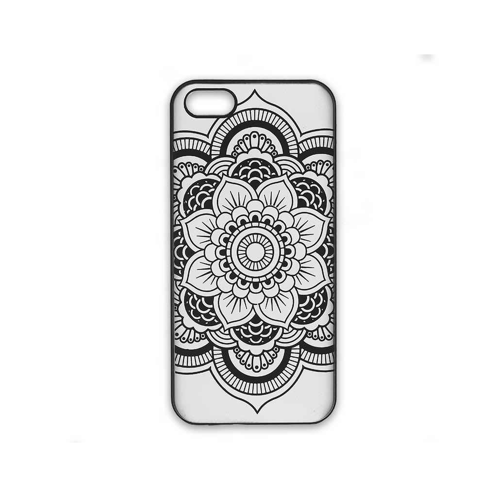 Funda r gida a personalizar para iphone 5 5s decor mandalas negro perles co - Fabriquer une coque de telephone ...