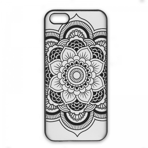 Funda r gida a personalizar para iphone 5 5s decor mandalas negro perles co - Personalizar funda iphone ...