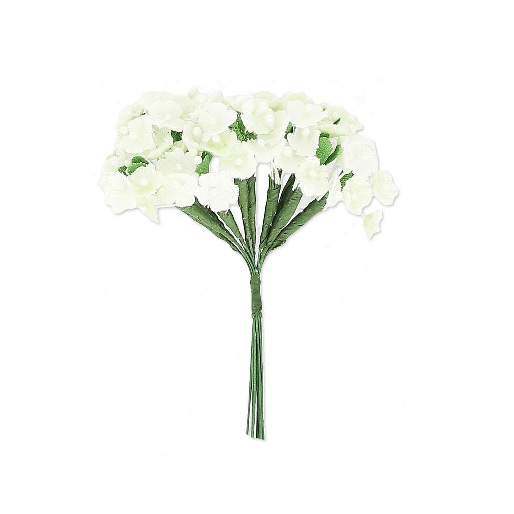 Ramo de 12 racimo de flores en alambre metálico Blanco/Crema ...