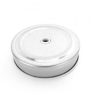Tapa de metal para frasco de vidrio motivo guisante con agujero plateado x1 7325f7bbe5c4