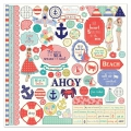Kit cardstock y stickers Julie Nutting Scrapbooking 30.5x30.5 cm Nautical Bliss