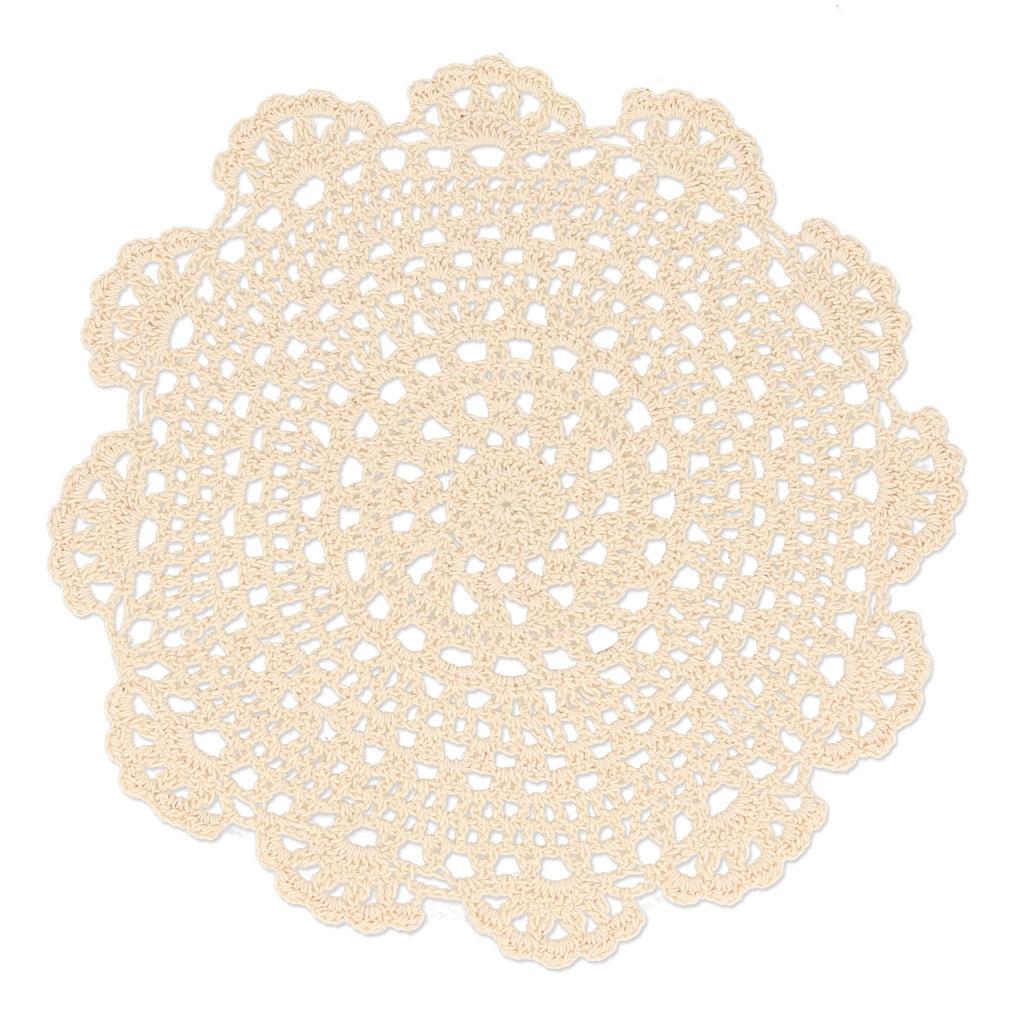 Tapete de ganchillo encaje flor 23 cm Beige x1 - Perles & Co