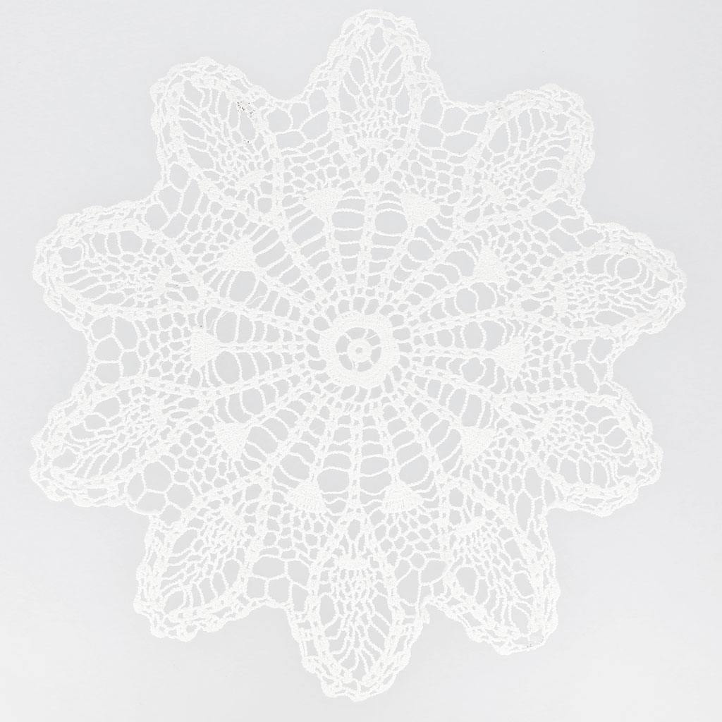Tapete de ganchillo encaje piña 29 cm Blanco x1 - Perles & Co