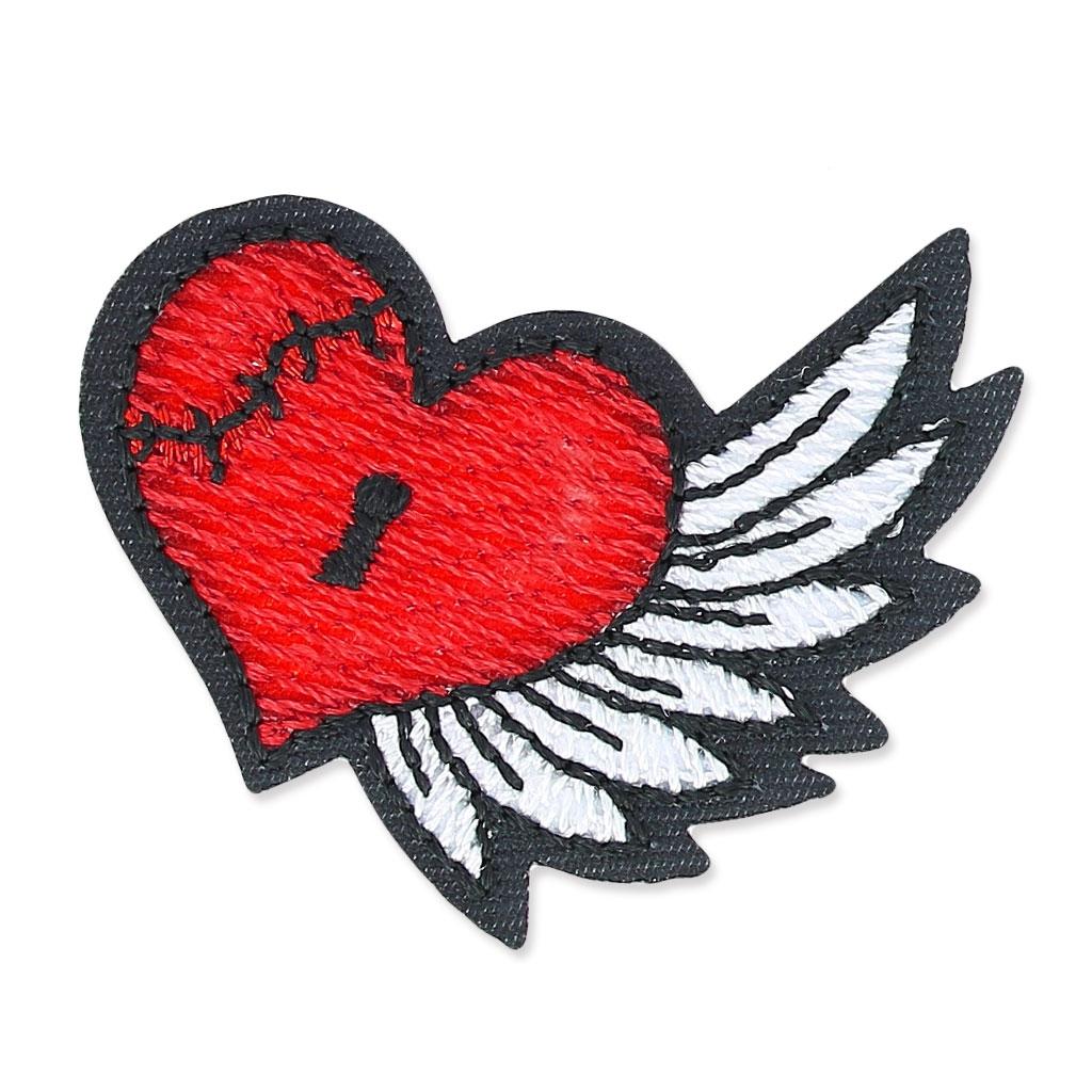 Escudo Termoadhesivo Tattoo 43x40 Mm Old School Corazón Con Alas X1