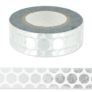 Cinta adhesiva - Paper Poetry Tape 15 mm Con lunares Plateado x10m