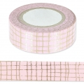 Cinta adhesiva - Paper Poetry Tape 15 mm Quadrillage Dorado/Rosa x10m