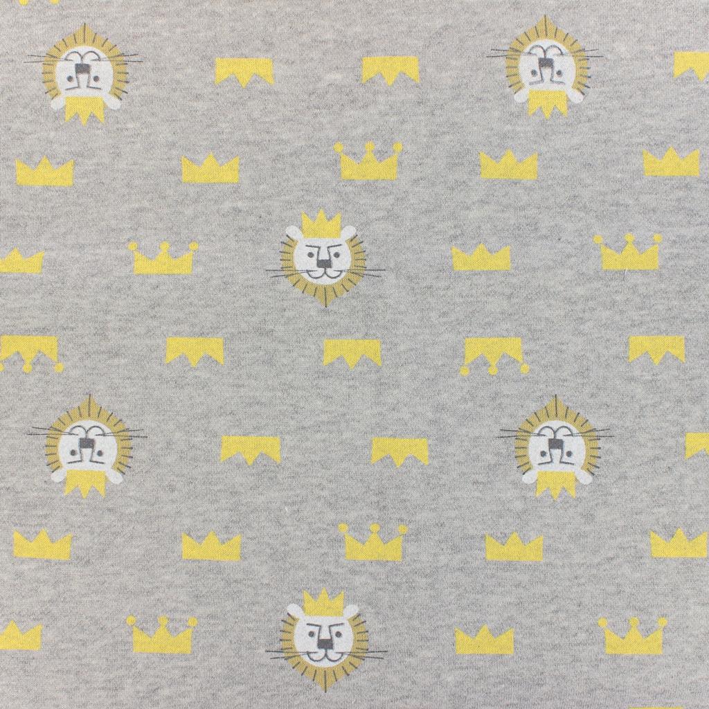 Tela infantil Warmly Kiyohara - Sweat diseño León Gris/Amarillo x1 ...