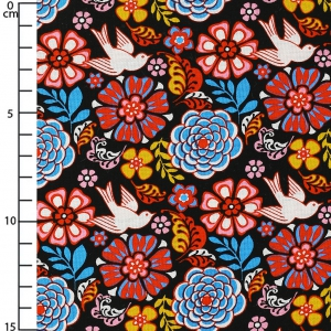 Tela David Textiles - Mexican Folklore - Black Folk Floral  x10cm