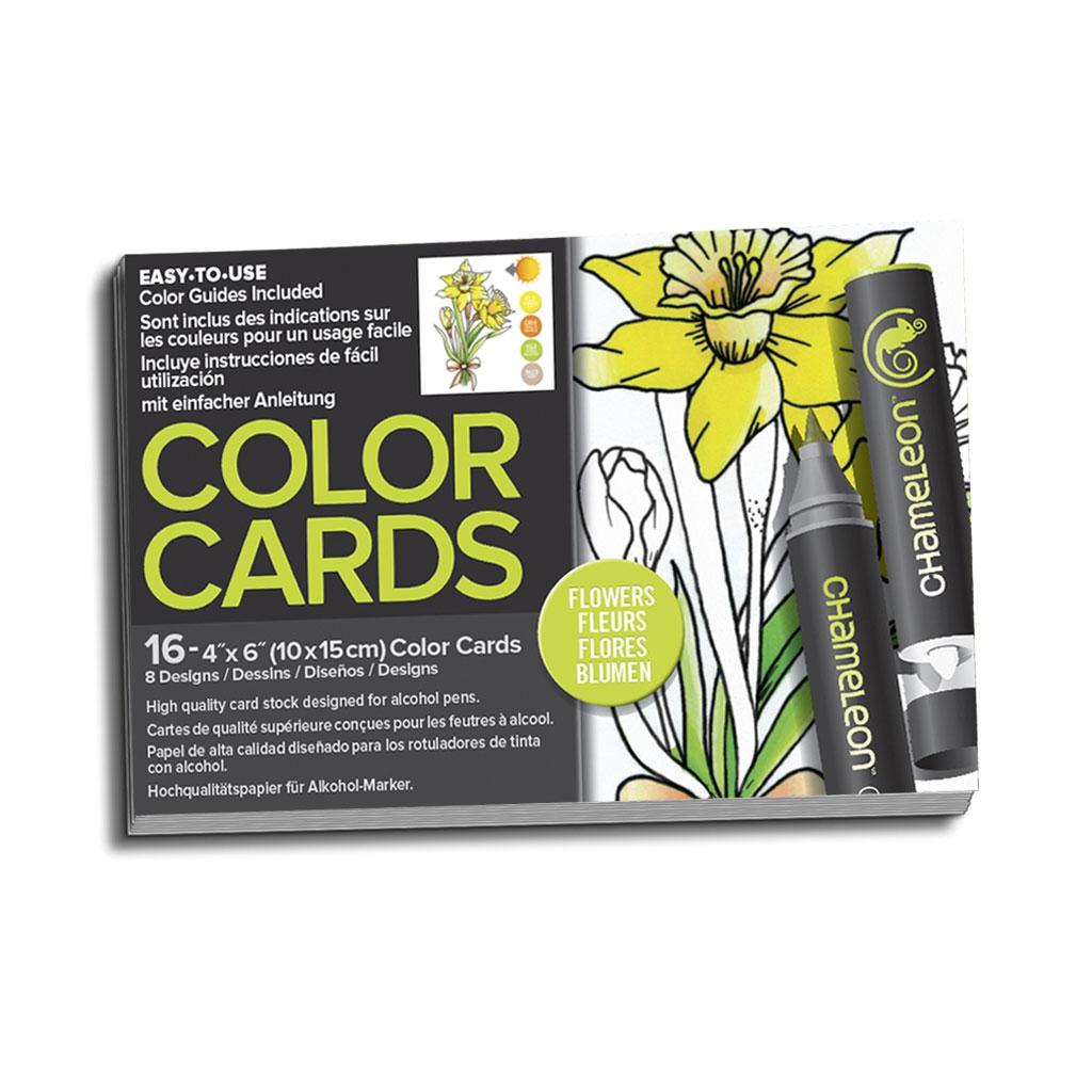 Surtido de 16 tarjetas para colorear Chameleon Color Cards Flowers ...