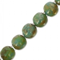 Cuentas de vidrio Dobble Beads 2 agujeros 8 mm Green Turquoise Picasso x20