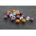 Cuentas de vidrio Dobble Beads 2 agujeros 8 mm Op. Light Rose Ceramic Look x20
