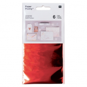 Surtido de 6 Papel Transfer Metalico Hoja Paper Poetry Rouge