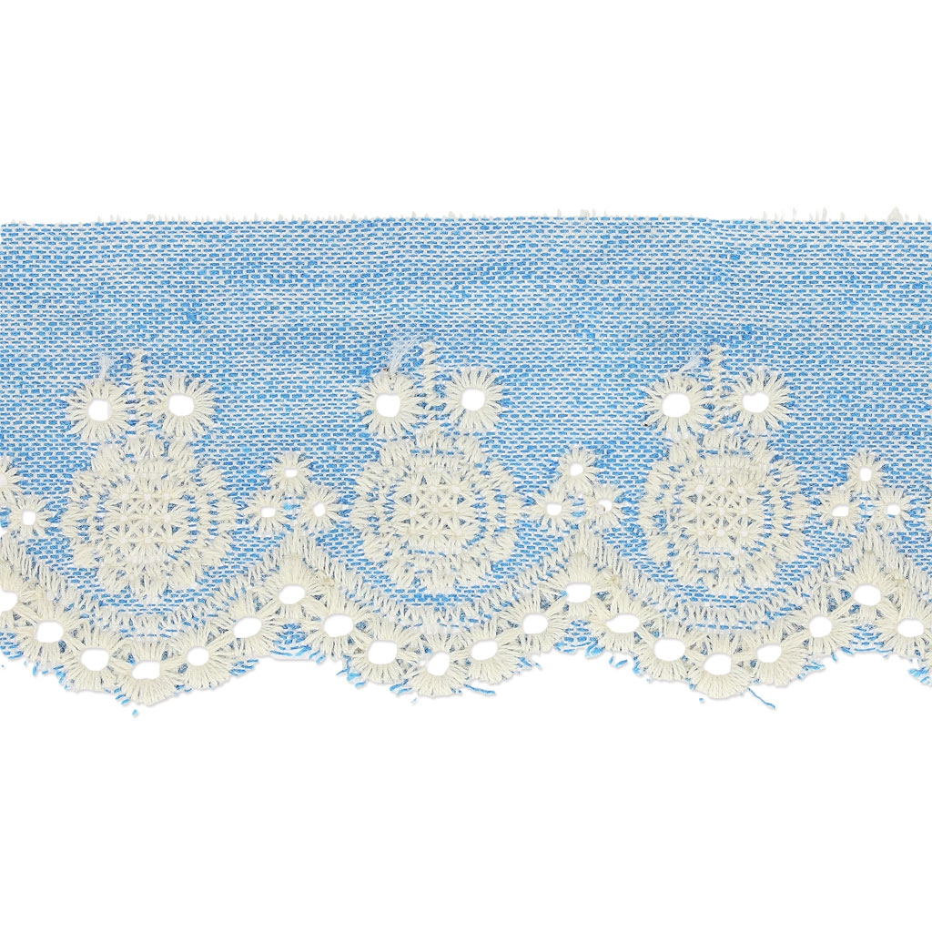 Bordado Inglés motivo flor por denim 60 mm 45 mm Light Blue Jean ...