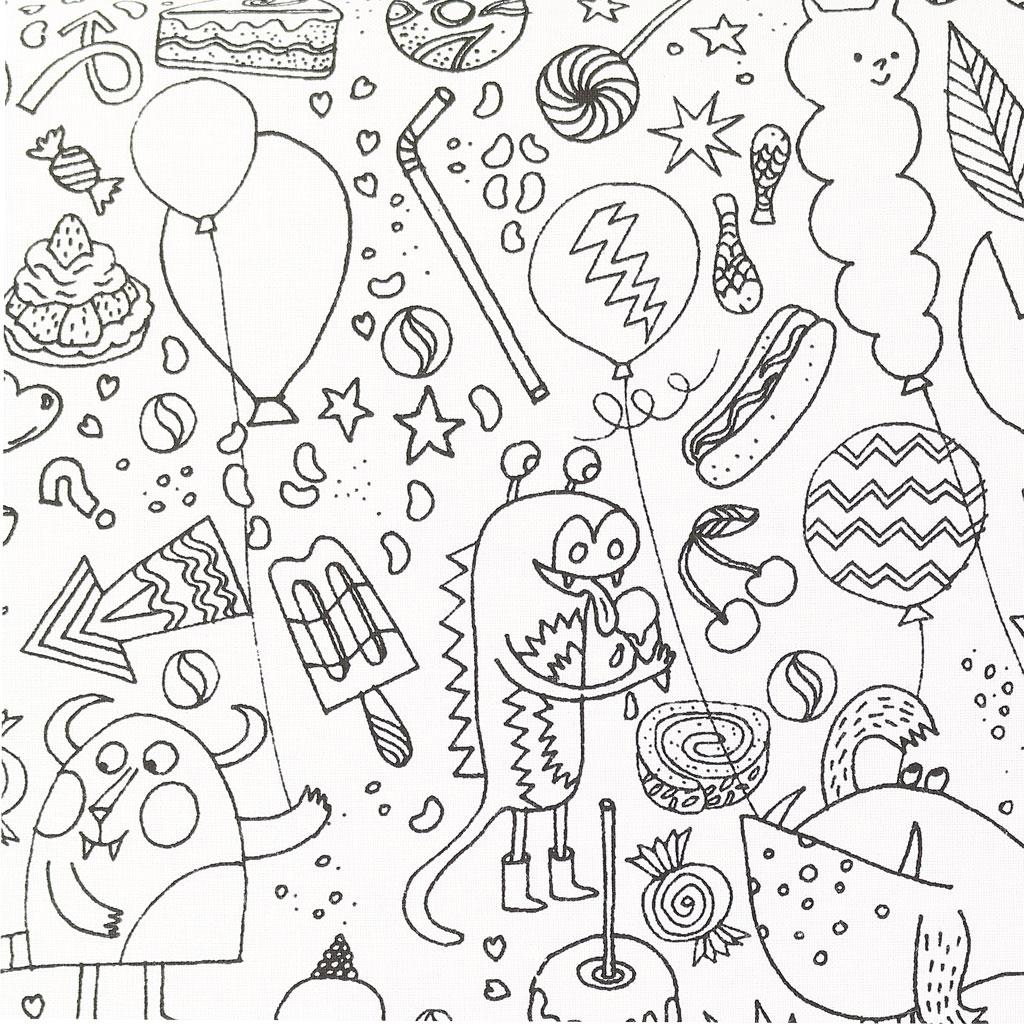 Tela Colouring activity - Motivo infantil monstruo insecto a ...