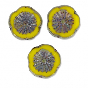 Cuentas de vidrio Hawaiian Flowers Beads 12 mm Limon Ceramic Look x10