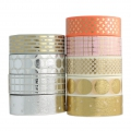 Cinta adhesiva - Paper Poetry Tape 15 mm Chevron Light Coral Dorado x10m