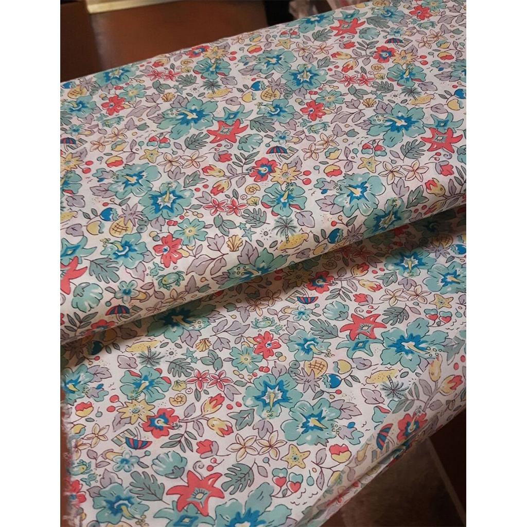 tela con estampados liberty aloha betsy turquesa coral