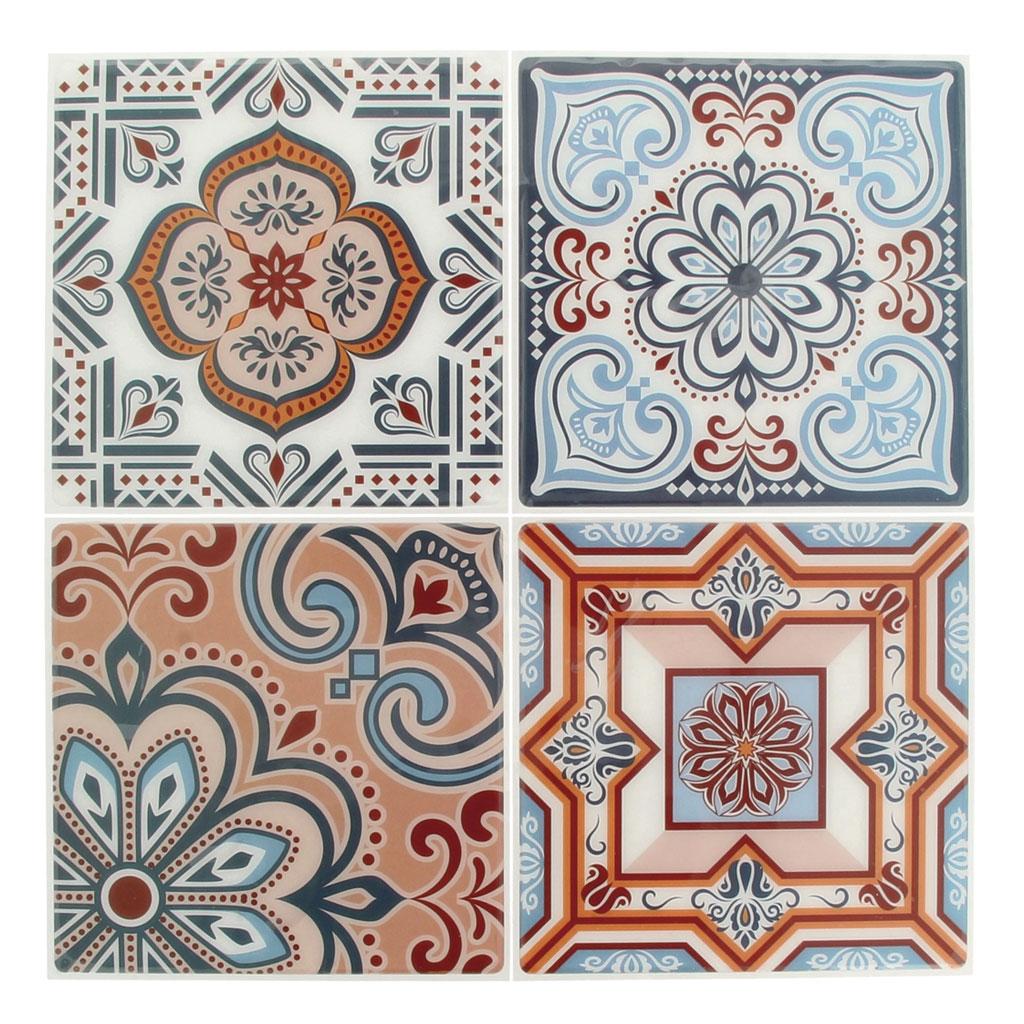 4 pegatinas decorativas mosaicos 12x12cm estilo azulejos azulejos de cemento azul marino - Pegatinas para azulejos ...