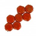 Cuentas de vidrio checa Honeycomb 6 mm Red Corail Luster x20
