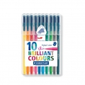 10 feutres Triplus Fineliner de 1  mm - STAEDTLER - Brillant Colours