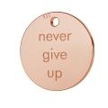 35b729ca73a9 Dije Grabado Never give up 11 mm de Plata 925 dorado rosa x1