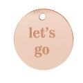 88de81e882c1 Dije Grabado Let s go 11 mm de Plata 925 dorado rosa x1
