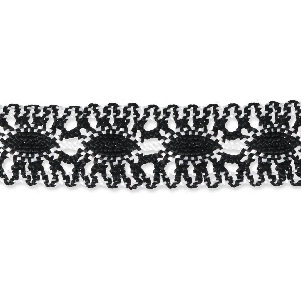 Encaje de ganchillo 25 mm Negro/Blanco x 1m - Perles & Co