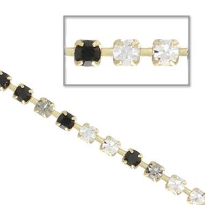 d79b891c1656 Cadena de latón bruto con strass de cristal tallado 2.10 mm Jet Black  Diamond  ...