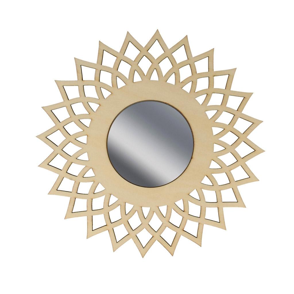 Espejo calada de madera a personalizar 20 cm con forma de for Espejos decorativos con forma de sol