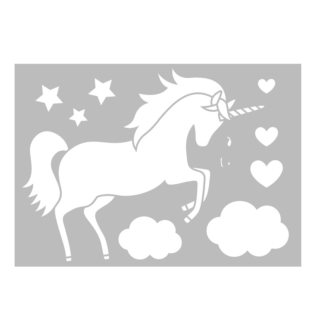 Plantilla decorativa Home deco 29,7 x 21 cm Unicornio/Estrella/Nub ...