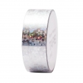 Cinta adhesiva - Paper Poetry Tape 20 mm Holograma Flor Plateado x10m