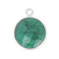 Colgante 12mm engaste Plata 925  / Dyed Emerald