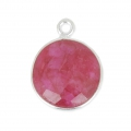 Colgante 12mm engaste Plata 925  / Dyed Ruby