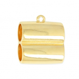 Terminal doble de metal para cordón 10 mm dorado - Perles   Co f6f8976f53f8